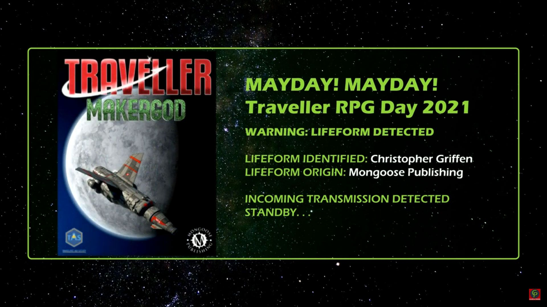 christopher griffen of mongoose publishing Interview Traveller RPG Mayday 2021 title