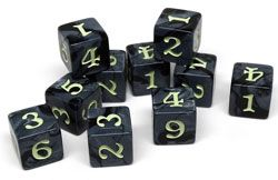 easy roller black 6-sided dice d6 10 pack