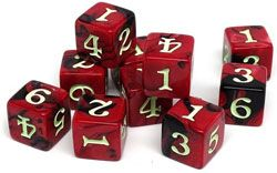 easy roller red 6-sided dice d6 10 pack